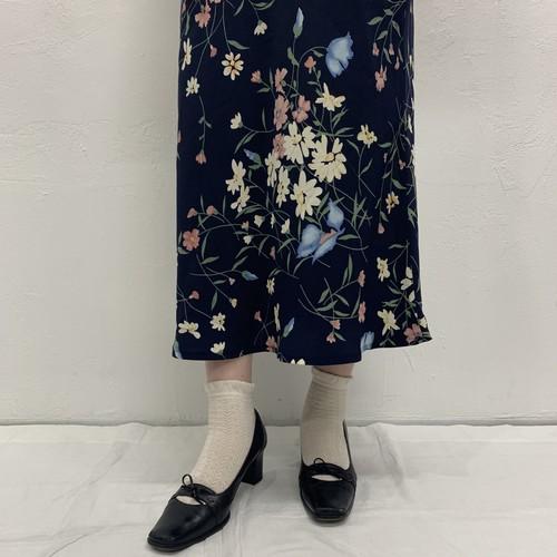 (LOOK) flower print tight long skirt
