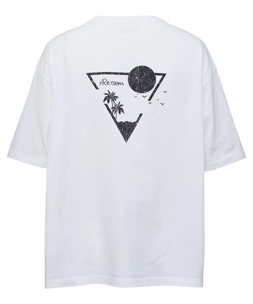 TRIANGLE GRAPHIC CRACK PRINT T-shirt[REC466]