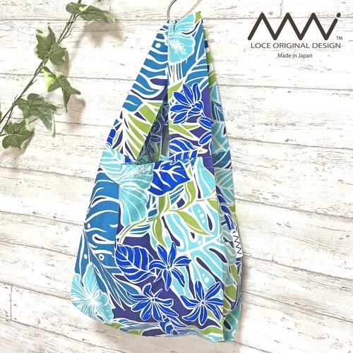 〖受注制作〗ハワイアンなレジ袋型エコバッグ/折りたたんでコンパクト収納