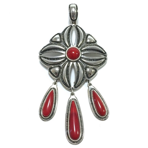 Navajo Red Coral & Sterling Silver Pendant by Cody Sanderson