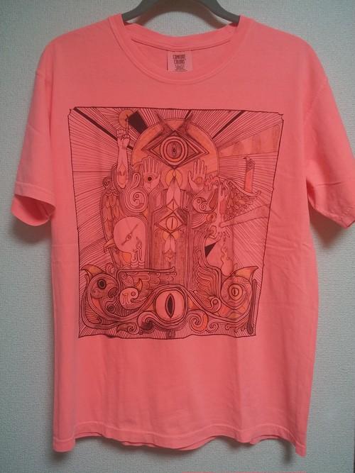 卍ヘンタイ25カトペ3ワークス卍 ヘンタイスキー Tシャツ 後染め ネオンレッド