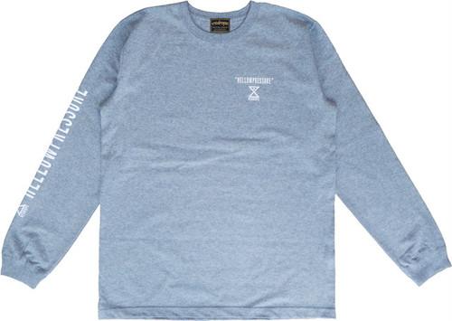 【HELLOWPRESSURE L/S tee】gray/white