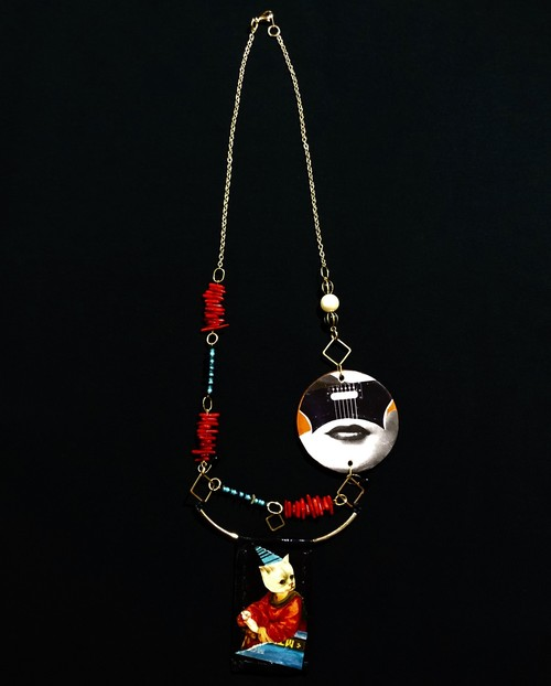 """dib"" ONE-OFF COLLAGE  NECKLACE"