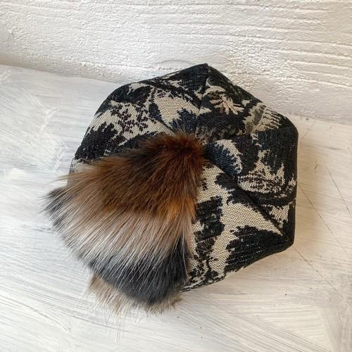 【LuLu de chapeau】MIXファー花柄ベレー帽