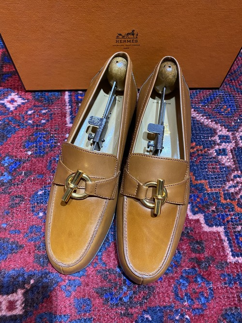 .HERMES Chaine d'ancre LEATHER LOAFER/エルメスシェーヌダンクルレザーローファー 2000000050508