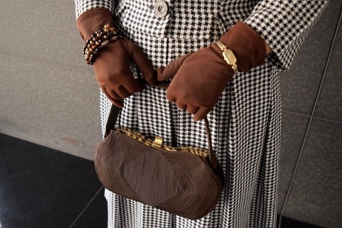 VINTAGE brown code bag