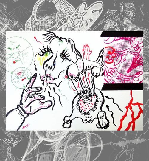 A4原画ドローイング『ひとめぼれ』写真カードのメッセージ付き