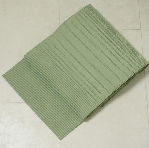 【夏帯】絽 名古屋帯 正絹 裏柳色 黄緑 146