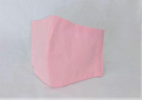 蒸れにくい綿100% 立体布マスク(無地・ライトピンク)大人用Lサイズ