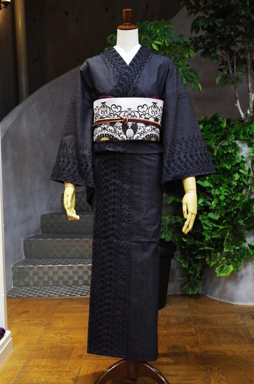 IKSコレクション単衣着物 レースリファインデニムフローラル ブラック
