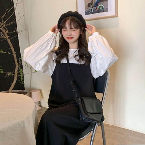 【送料無料】 ガーリーなモノトーンコーデ♡ ボリューム袖 ブラウス シャツ × ジャンパースカート ロング ワンピース セット