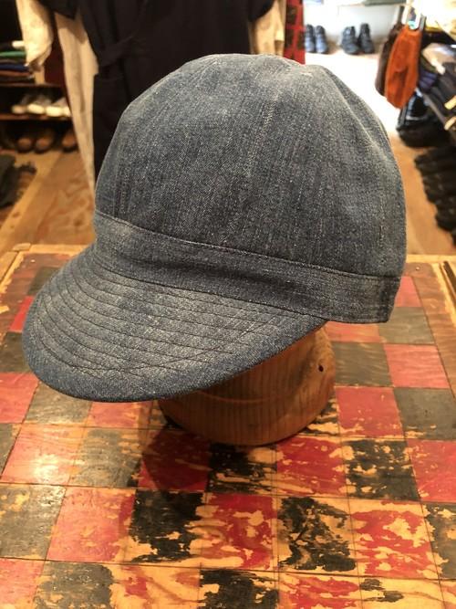 「BRACKETS」 remake cap using vintage denim fabric