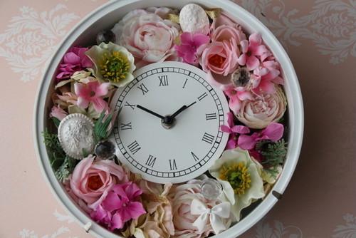 アロマハイストーン付きアーティフィシャルフラワーの花時計 値下げしました
