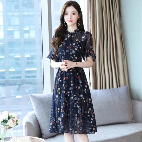 【dress】一目惚れシフォンフレアスリープ半袖花柄ワンピース N-0145