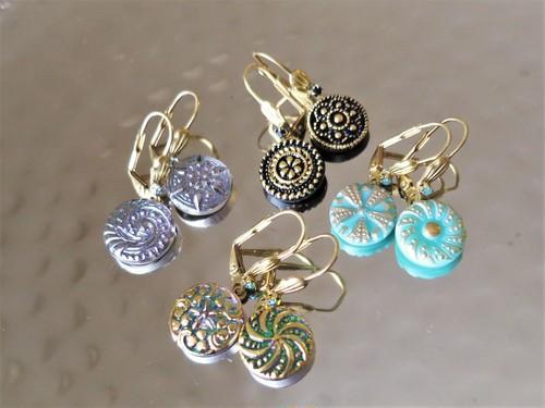 ヴィンテージガラスボタン ピアス vintage btn earrings <PE6/9-0420>