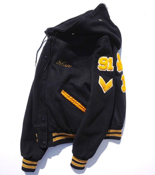 1990's [DeLONG] ジッパーフーディー型 メルトンスタジャン ブラック 表記(42)