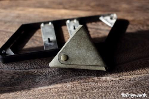 大き目のプエブロの三角コインケース ピックケース グリージオ