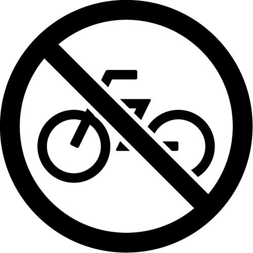 自転車走行や駐輪禁止マークのカッティングステッカーシール
