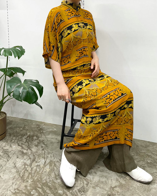 1980s MADE IN USA PHOEBE repeating print rayon crepe one-piece 【M位】