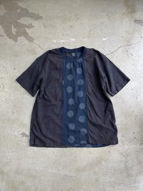 """オンライン限定販売:DA'S/Patchwork Fuhaku Tee """"mud indigo dyed""""(ダズのフハクティー「スペシャル」)"""