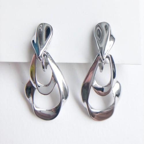 """Trifari"" silver design dangle earring[e-1247] ヴィンテージイヤリング"