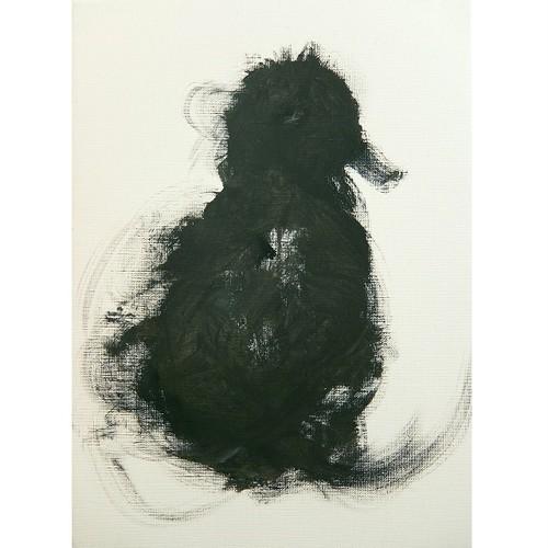 「鳥」 キャンバスにアクリル * 現代アート 絵画 モノクロ 内野隆文