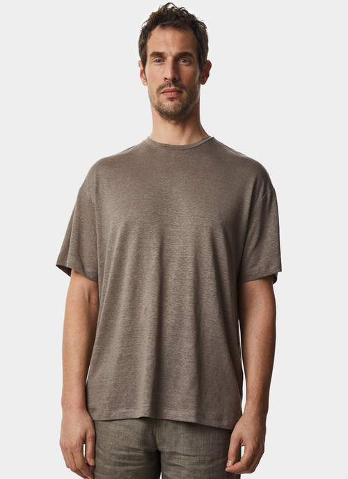 ELASTIC LINEN T-SHIRT WITH SHORT SLEEVE