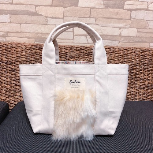 Fake fur Pocket Tote bag S - White