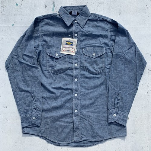 80's OSHKOSH B'GOSH シャンブレーシャツ タグ付き デッドストック USA製 15 1/2 ワークシャツ 希少 ヴィンテージ