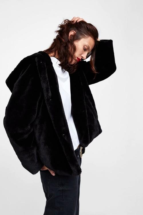 Black bore jacket with hood