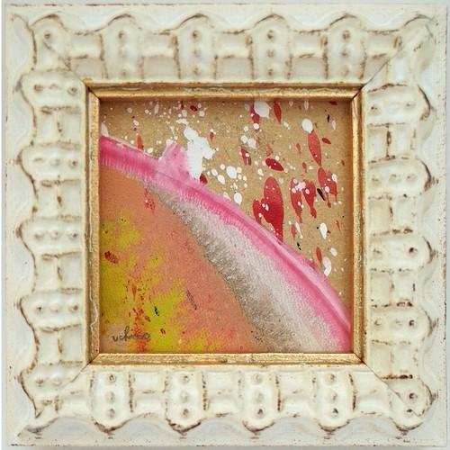 「無題」 段ボールにアクリル * 現代アート 絵画 抽象画 ミニ額 フレーム 内野隆文 takafumiuchino