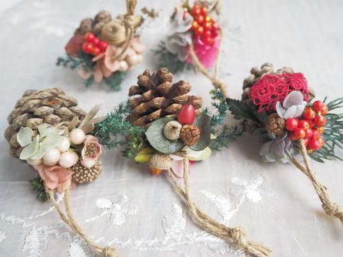 クリスマスオーナメント5個セット< Pêche antique> * クリスマスツリー・ガーランド・プリザーブドフラワー