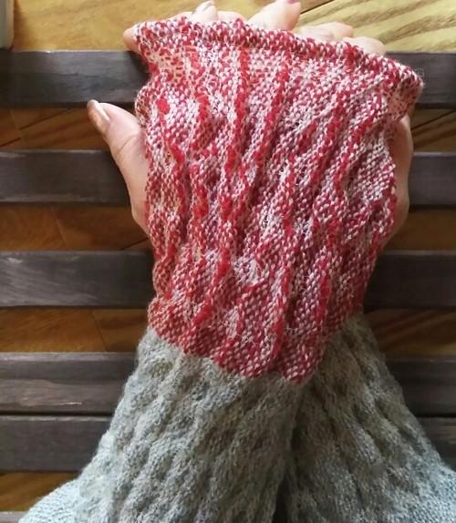 送料込み カシミヤ手織りアームウォーマー  N49