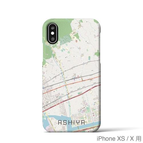 【芦屋】地図柄iPhoneケース(バックカバータイプ・ナチュラル)