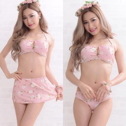 SALEスカート付き3点セット☆マーガレット柄ビキニ ピンク