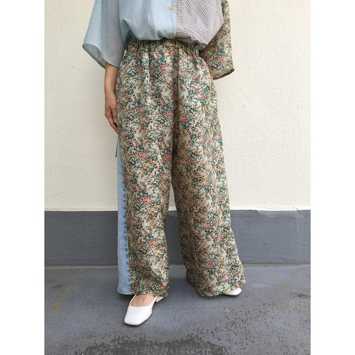 remake denim pants / flower silk