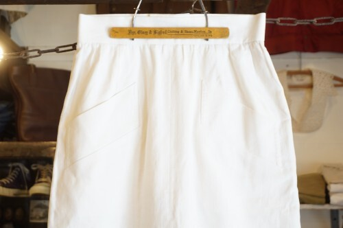 80's Yves Saint Laurent white back button pencil Skirt