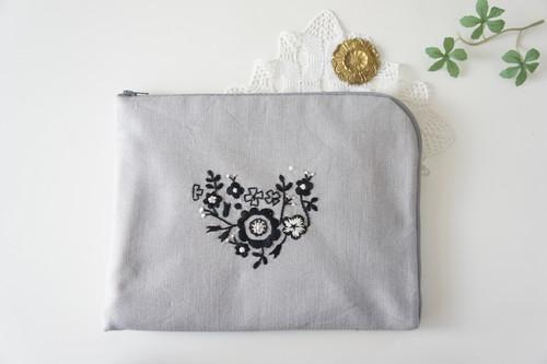 お道具ポーチ(25番刺繍糸専用ケース):グレー