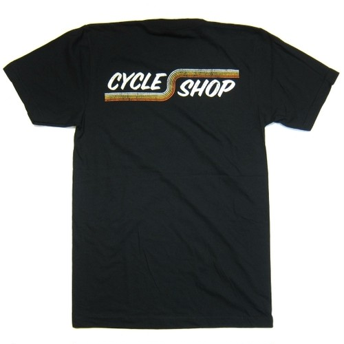 Lawrence Vintage Cycle 74's Forever Cycle Shop Stripes tee shirt, black