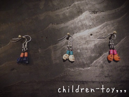 【children-toy,,, original craft】ドクロピアス