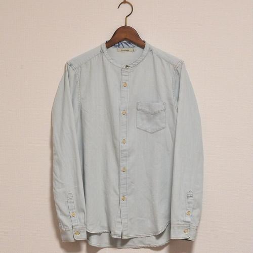 インディゴバンドカラーシャツ【Hub&Spoke】サックスブルー