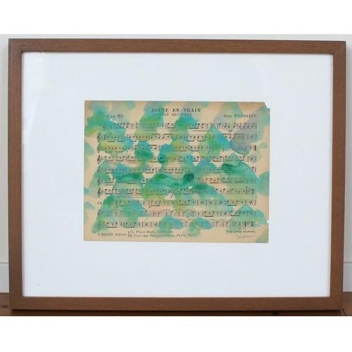 「楽譜」 古い紙にアクリル * 現代美術 アート 抽象画 アンティーク ヴィンテージ 内野隆文 takafumiuchino
