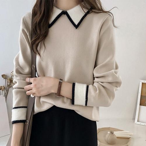 【トップス】おすすめファッション折り襟プルオーバー配色ニットセーター24229705