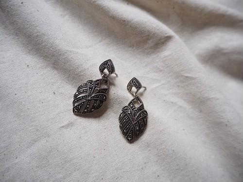 <vintage silver925>deco leaf pierce