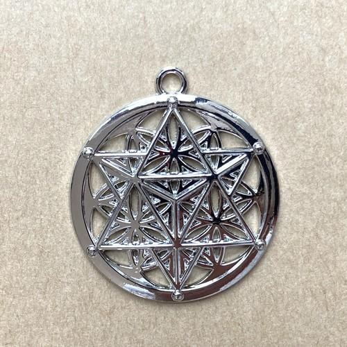 マカバ瞑想 六芒星ペンダント 円形 シルバートーン 透かしチャーム 1個