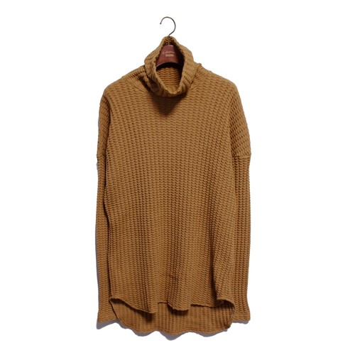 Enharmonic TAVERN Big Waffle Volume Neck Tops -camel <LSD-AH3T5>
