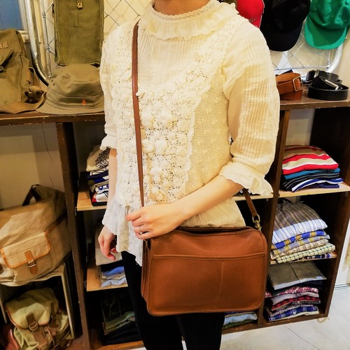 60's OLD COACH leather shoulder bag / Made In USA [B-213]