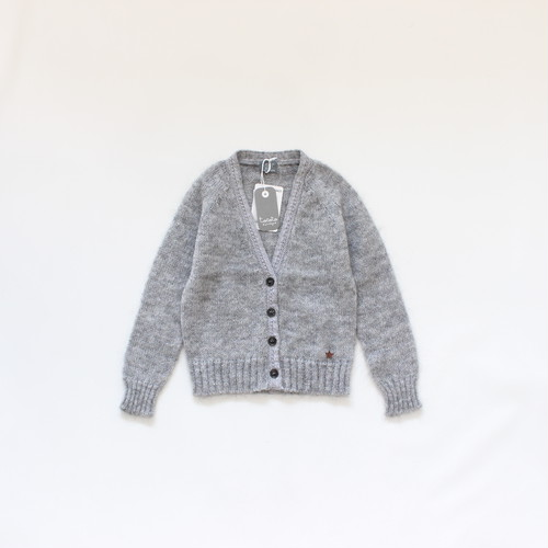 tocoto vintage knitted cardigan with lace  GREY
