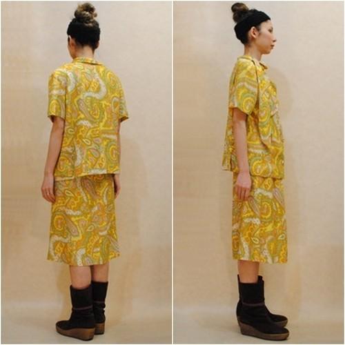M~XLサイズ【アメリカ製古着】1960年代ヴィンテージ◆黄色ペイズリー◆変形衿◆スーツ