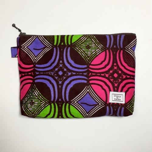 ポーチ アフリカンテキスタイル(日本縫製) 「幾何学4」 パープル ピンク ライトグリーン ブラウン|アフリカ エスニック ガーナ布